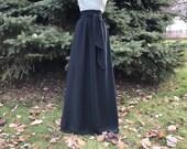 Black GEORGETTE chiffon skirt, any length and color Bridesmaid skirt, floor length, tea length, knee length empire waist black chiffon skir