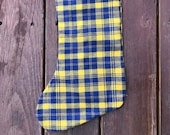 Plaid flannel Christmas stocking, READY TO SHIP- gold and blue
