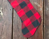 Flannel Christmas stocking, READY TO SHIP- Red and Gray buffalo plaid
