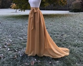 ANTIQUE GOLD chiffon skirt, any length and color Bridesmaid skirt, floor length with train chiffon skirt, SASH is additional charge