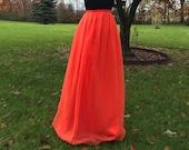 TIGER LILY- Orange Chiffon Skirt, any length and color Bridesmaid skirt, floor length, tea length, knee length empire waist chiffon skirt