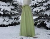 Kiwi chiffon skirt, any length and color Bridesmaid skirt, floor length, tea length, knee length empire waist grey chiffon skirt