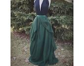 Asymmetrical bridal skirt, emerald green chiffon maxi skirt, wedding dress