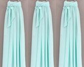 Mint DOUBLE GEORGETTE chiffon maxi skirt, any length and color Bridesmaid skirt, floor length, tea length, knee length empire waist chiffon