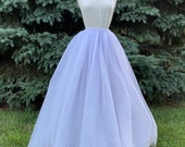 Cotton candy floor length tulle skirt, pink + blue two toned tulle maxi skirt