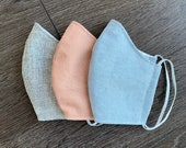 Fitted face mask-Blush, blue or back/white linen. Face covering MADE IN USA. Washable.