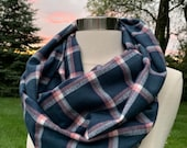 Blue and pink plaid flannel infinty scarf- cozy, warm, white