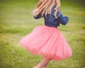 Flower girl tutu, coral tutu- coral tulle skirt, photography prop, coral tutu
