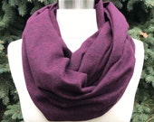 Plum flannel infinity scarf/ super soft, warm purple