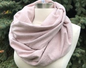 Blush pink herringbone flannel infinity scarf/ super soft, warm