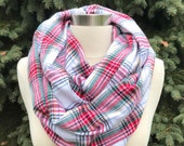 Multi colored infinity scarf, red, yellow, white, green and black plaid flannel infinty scarf, women's children's or toddler size