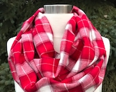Womens, child, toddler, red, off white plaid flannel infinty scarf