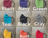 Fitted face mask- Linen, 9 color choices. Black, plum or gray. Face covering MADE IN USA. Washable Cloth Mask
