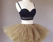 8 layer short tutu, rave tutu, race tutu, tulle skirt, gold tutu, ANY COLOR