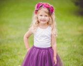 Flower girl tutu, purple tutu, eggplant tulle skirt ANY COLOR
