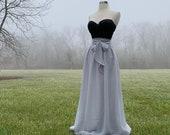 SILVER Chiffon skirt,Bridesmaid skirt, floor length, tea length, knee length empire waist