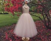 Pale blush tutu, flower girl tutu, long tulle skirt, toddler tulle skirt, pale pink
