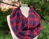 Womens, burgundy, gold, blue plaid flannel infinty scarf