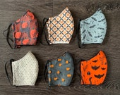 Cotton fitted face masks, fall/ Halloween patterns. Face covering MADE IN USA