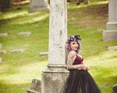 Black tulle skirt, floor length tulle skirt, adult tulle skirt, ANY COLOR