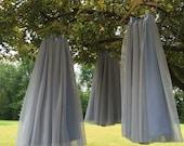 Chiffon skirt,Bridesmaid skirt, floor length, tea length, knee length empire waist, two toned (Silver/ Riviera sky)chiffon skirt