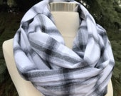Black and white plaid flannel infinity scarf-tartan- checkered
