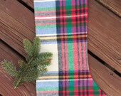 Flannel Christmas stocking, READY TO SHIP- cream, red, green, flannel with lining and ribbon loop
