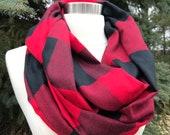 Buffalo plaid infinity scarf-tartan- red black buffalo plaid
