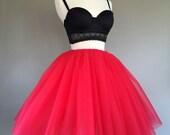 Tulle skirt, adult tutu, adult red tutu, womens tulle skirt, adult tulle skirt, any size-very full