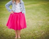 Flower girl tutu, long pink tulle skirt, fuchsia tutu, long tulle skirt ANY COLOR