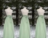 Sage green chiffon skirt, tea length, Bridesmaid skirt, floor length, knee length, green chiffon skirt, SASH is additional charge