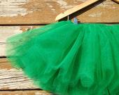 Green Sewn Tutu sizes infant to girls size 9/10 nylon tulle- sewn tutu- very full