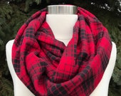 Red and black plaid flannel infinity scarf-tartan- checkered
