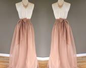 PECAN chiffon skirt, bridesmaid maxi skirt, floor length, tea length empire waist, maxi skirt