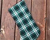 Flannel Christmas stocking, READY TO SHIP- black and green plaid