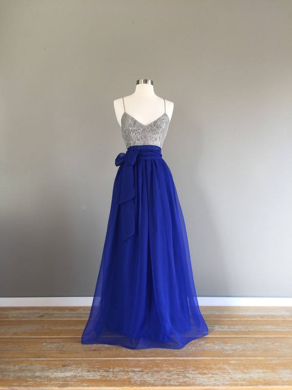 6d3d1c98fa DEEP ROYAL blue chiffon skirt any length and color Bridesmaid | Etsy