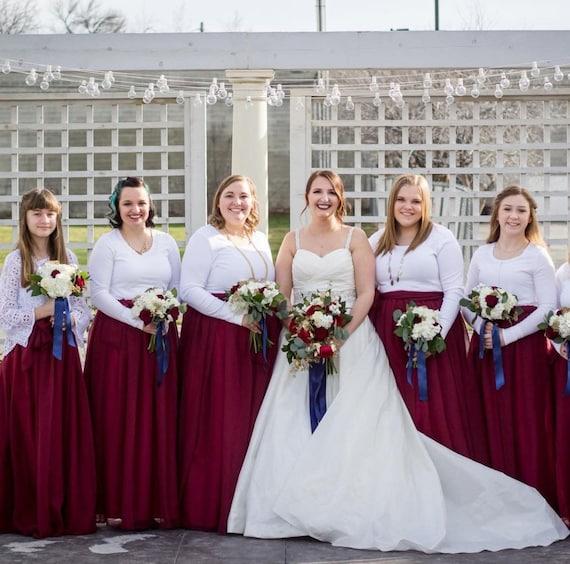 Garnet Chiffon Skirt Any Length And Color Bridesmaid Skirt Floor Length Tea Length Chiffon Skirt Sash Is Additional Charge