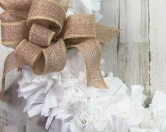 Shabby chic rag wreath, White fabric & burlap decorative wreaths, Neutral farmhouse entryway home decor, Housewarming gift ideas