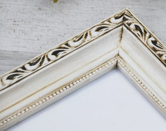 Shabby 8.5x11 diploma frames, Ornate antique white wood document frame, Farmhouse chic home office wall gallery decor, Housewarming gift