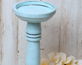 French country candle holder, Coastal farmhouse light blue wooden pillar candleholders, Fireplace mantel home decor, Wedding gift ideas