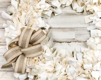 Farmhouse rag wreath, Antique white & ivory decorative fabric wreaths with burlap bow, Country entryway home decor, Housewarming gift ideas