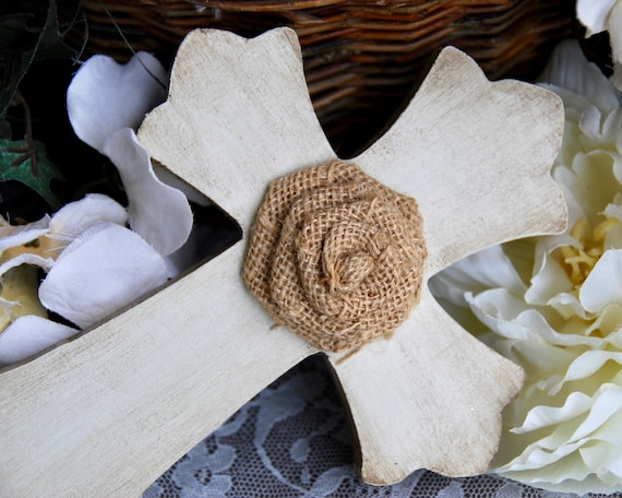Rustic Farmhouse Wall Cross Antique White Small Burlap Embellished