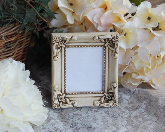 Small Ornate Vintage Style Picture Frame Antique White Shabby Etsy