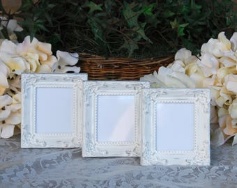 Ornate wedding decorations, Shabby chic picture frame set, 3 distressed small white frames, Table number holders, Reception sign decor