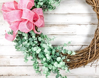 Spring grapevine wreaths, Farmhouse greenery wreath with pink burlap bow, Easter front door decor, Housewarming gift ideas