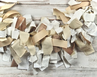 Rustic white & khaki tan rag garland, Farmhouse ribbon fabric garlands, Fireplace mantel party decor, Neutral country holiday decorations