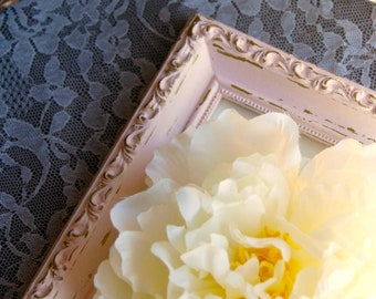 Shabby distressed chic photo frame, Pink & gold ornate picture frames, Girls nursery wall gallery decor, Baby shower gift ideas