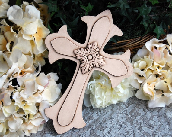 Blush Pink Painted Wood Wall Cross Embellished Shabby Chic