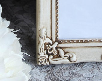 Antique white picture frame set, 2 small ornate frames, Shabby chic home decor, French farmhouse bedroom, Neutral nursery, Baby gift ideas