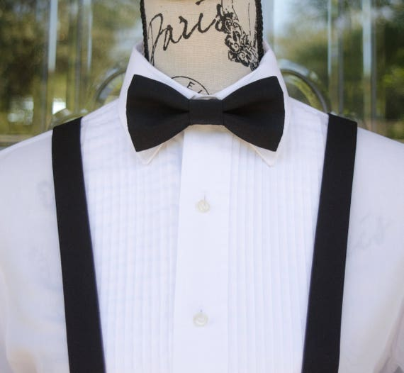 New Black White Line Stripe Suspender and Black BOW TIE SET Tuxedo Wedding